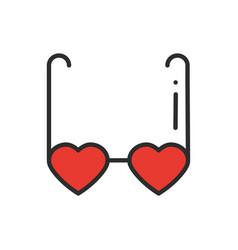 heart shaped glasses line icon retro sunglasses vector image