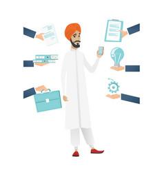 Hindu businessman having lots of work to do vector