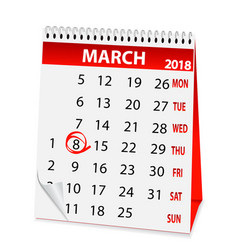 Holiday calendar in 8 march 2018 vector