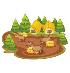 horses and houses on white background vector image