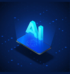 Isometric banner ai concept realistic mobile vector