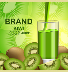 kiwi fruit food slice banner realistic style vector image
