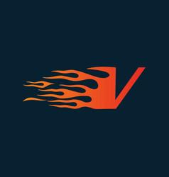 Letter v flame logo speed logo design concept vector