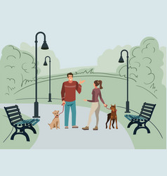 man and woman walk in the park with their dogs vector image