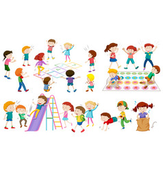 many children play different games vector image