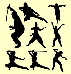 Martial art using sword sport silhouette vector