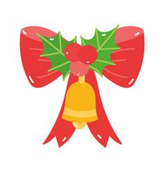 merry christmas bell gift bell mistletoe vector image