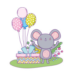 mouse with balloons helium in the field vector image