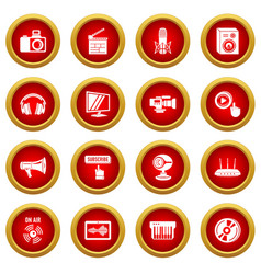 multimedia internet icons set simple style vector image