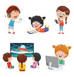 Of kids technology vector