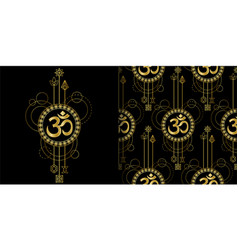 Om gold geometric print and seamless pattern set vector