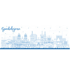 Outline guadalajara mexico city skyline with blue vector
