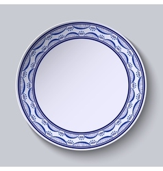 Plate with ornament in gzhel style of painting on vector image