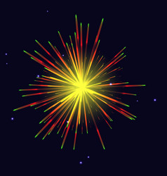 radiant golden red green fireworks over night sky vector image