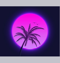 retrowave sunset with palm silhouette and flying vector image