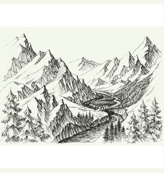 River flow in mountains hand drawn alpine vector