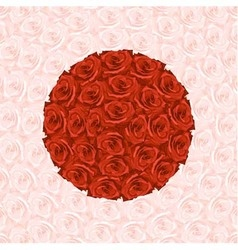 round from red roses on background from rose vector image