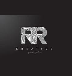 rr r letter logo with zebra lines texture design vector image