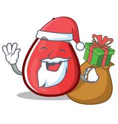 Santa blood drop cartoon mascot character vector