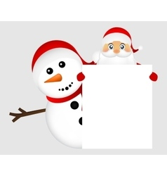 Santa Claus and snowman with white blank banner vector