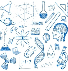 Sciences doodles icons set vector image vector image