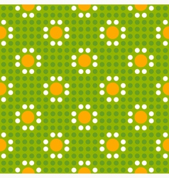Seamless geometric of polka dot pattern with daisi vector