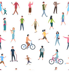 Seamless pattern with walking people persons in vector