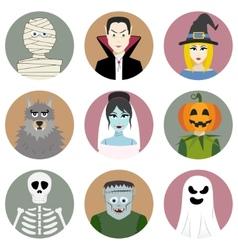 set nine halloween characters vector image