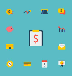 set of economy icons flat style symbols with chart vector image