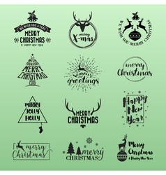 Set of Merry Christmas and Happy New Year Logo vector image