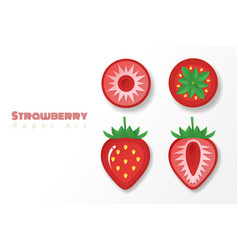 set of strawberries in paper art style vector image