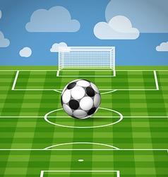 Soccer ball lying on grass vector