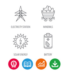 Solar energy battery and minerals vector