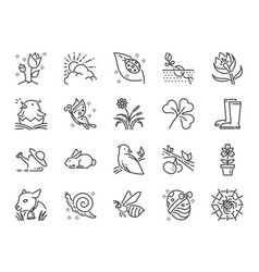 Spring line icon set vector