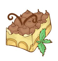 Sweet classic tiramisu dessert icon cartoon vector