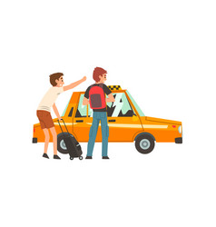 Taxi service two men with suitcase and backpack vector