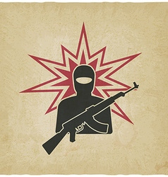 Terrorist with gun old background vector