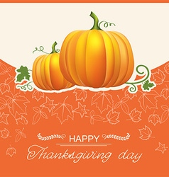 Thanksgiving day autumn card with yellow pumpkins vector