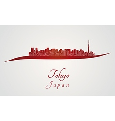 Tokyo V2 skyline in red vector