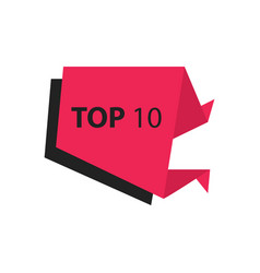 Top10 text in label black pink vector