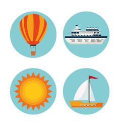 tourism and travel round icons vector image vector image
