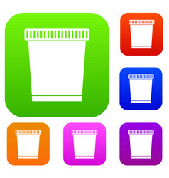 Trash can set collection vector