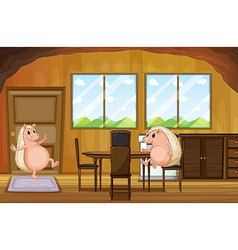 Two molehogs inside the house vector