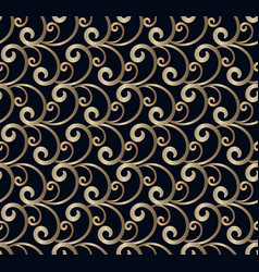 vintage gold scroll pattern on black background vector image