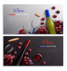 Wine realistic horizontal banners vector