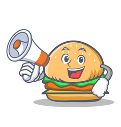 burger character fast food with megaphone vector image