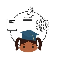 cartoon girl cap graduation school chemistry vector image