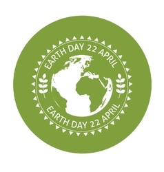 Earth symbol on green background vector image vector image