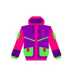 flat style skiing hiking winter sport jacket vector image