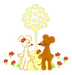 Love card with lovers animals vector image vector image